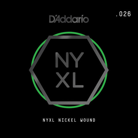 D'Addario NYXL Nickel Wound Electric Guitar Single String, .026