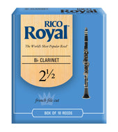 Rico Royal Bb Clarinet Reeds, Strength 2.5, 10-pack - RCB1025