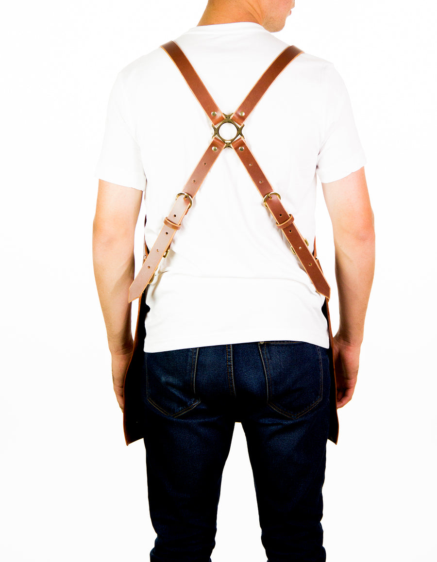 Distressed Cognac Leather Apron