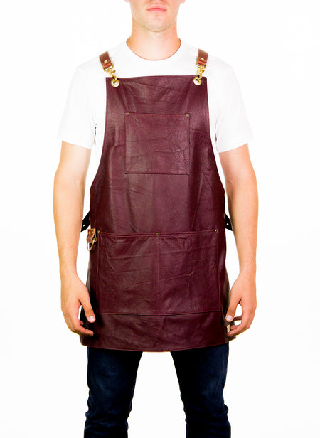 Burgundy Leather Apron