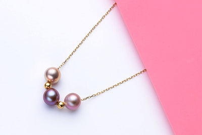 3 pearl Multi-Color Freshwater Pearl Necklace-Kyllonen