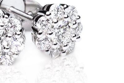 Cluster Diamond Earrings close up by Kyllonen