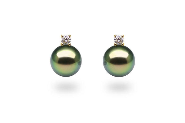Diamond Black Pearl Earrings-Kyllonen