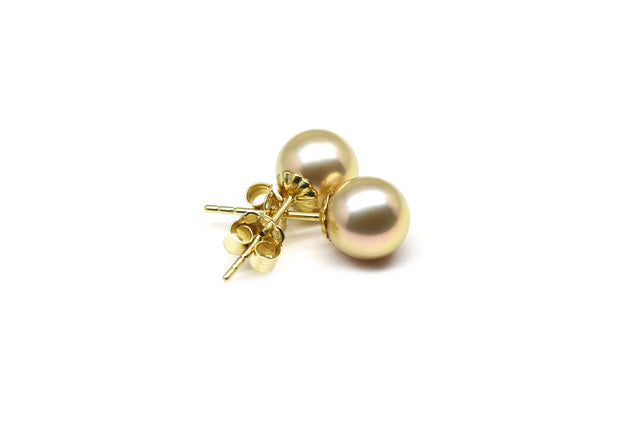 Champagne Metallic Freshwater Pearl Earrings-Kyllonen
