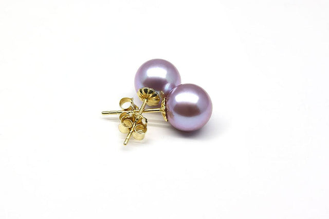 Purple Metallic Freshwater Pearl Earrings-Kyllonen