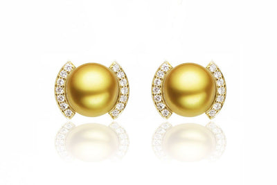 Roma South Sea Gold Pearl Earrings