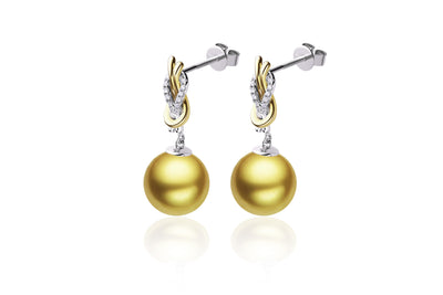 Square Knot South Sea Gold Pearl Earrings