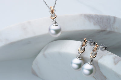 Square Knot South Sea Pearl Earrings