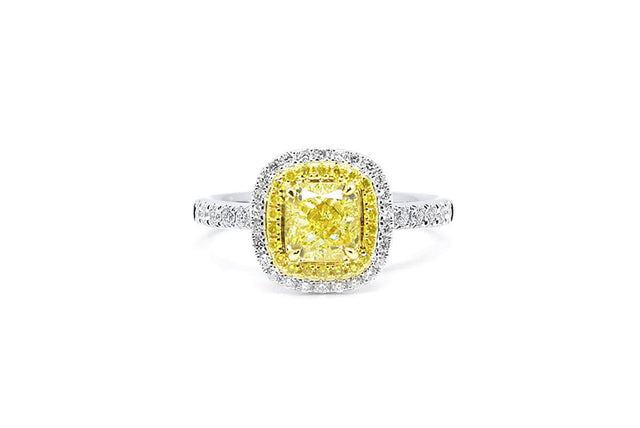 1ct Double Halo Yellow Diamond Ring-Kyllonen