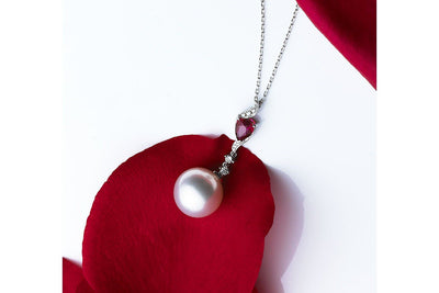 Dalliance Ruby and South Sea White Pearl Pendant-Kyllonen