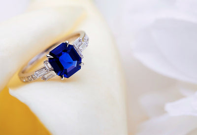 Deco Royal Blue Sapphire Ring