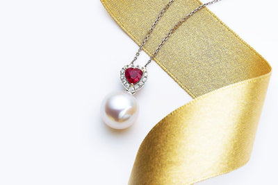 Heart Shaped Ruby Pearl Pendant-Kyllonen