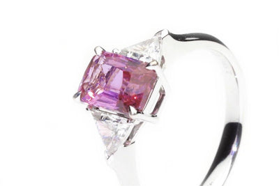 3 Stone Emerald Cut Pink Sapphire Ring