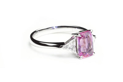Emerald Cut Pink Sapphire 3 Stone Ring