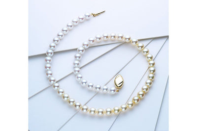 White and Yellow Akoya Pearl Strand-Kyllonen