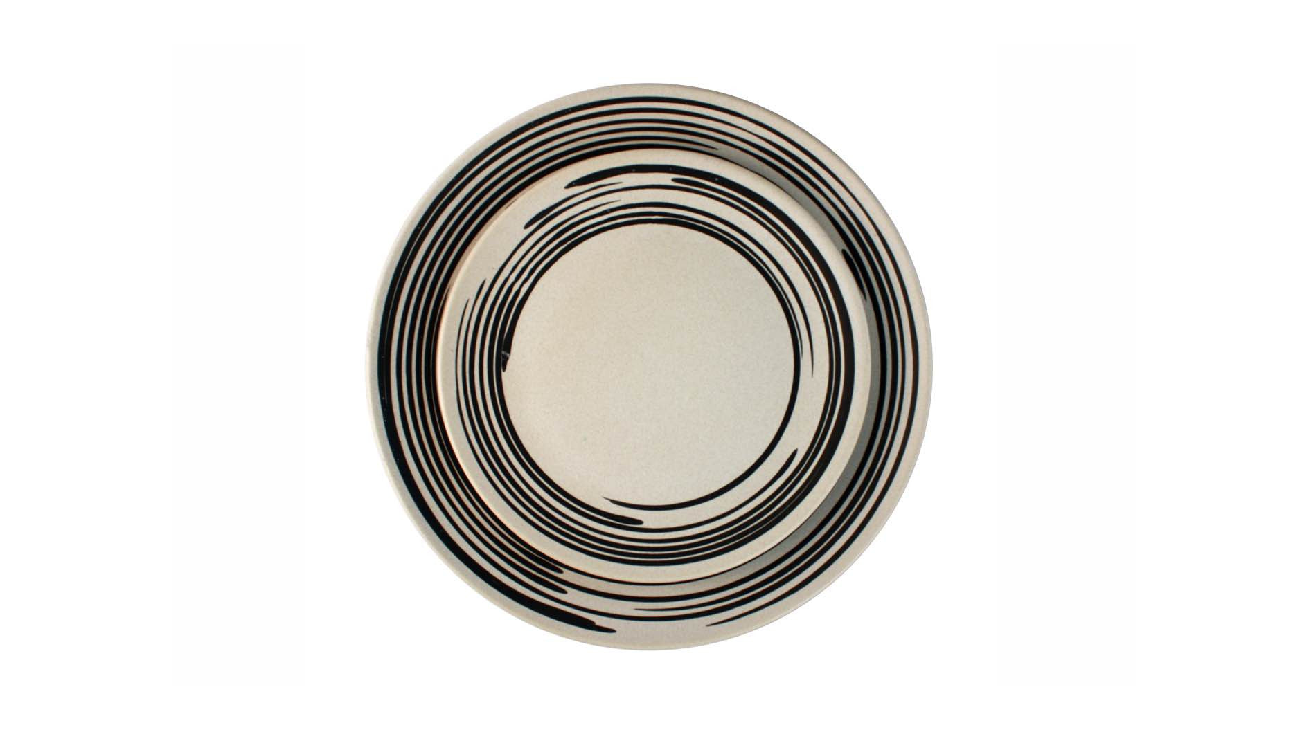 Salamanca Dinner Plate B&W Stripe<br>Set of 2