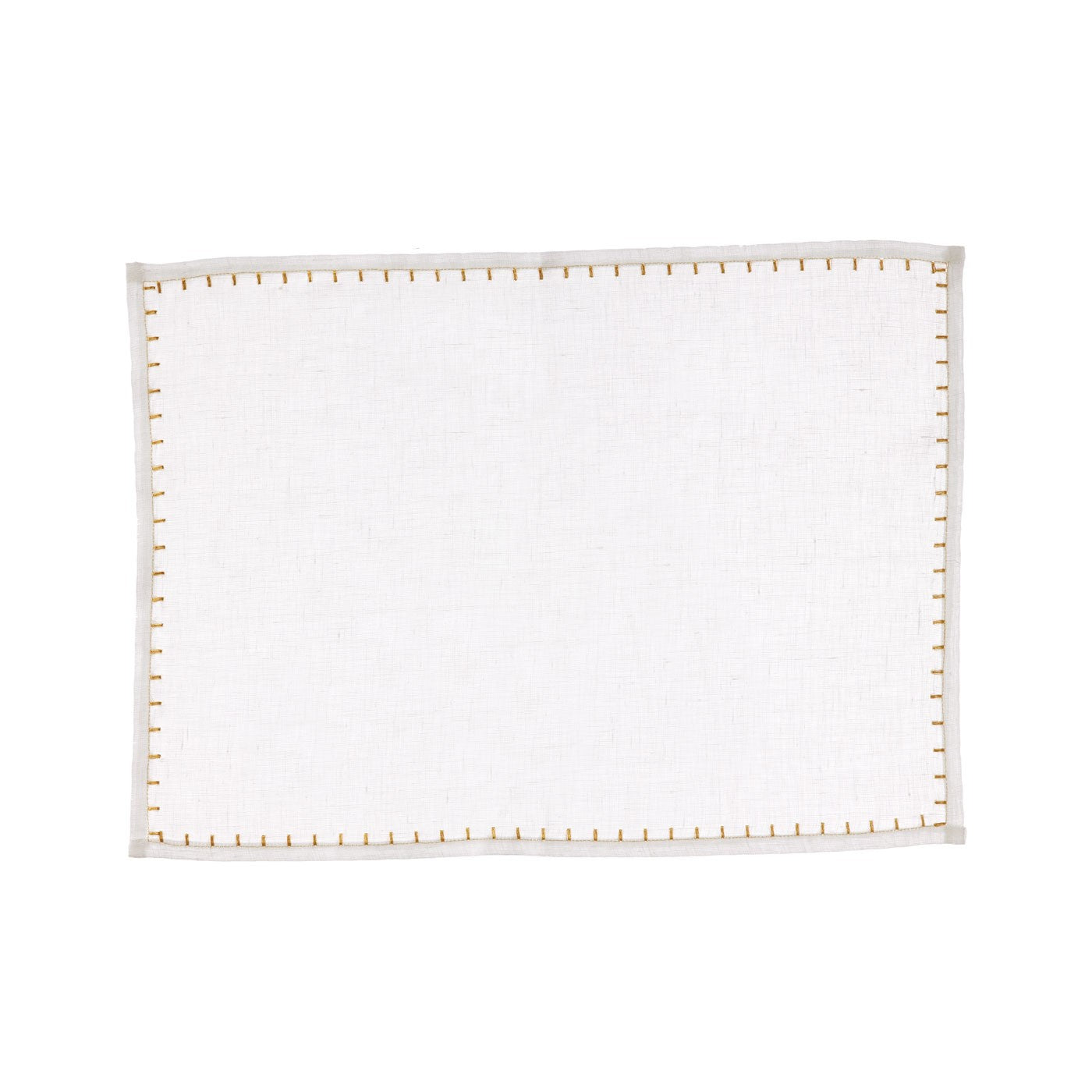 Whipstitch White W/ Gold Placemat