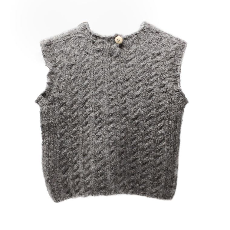 Grey Child's Alpaca, Shetland Sleeveless Jumper