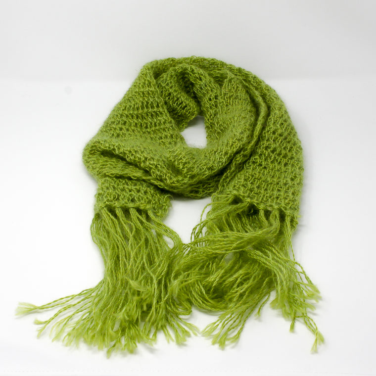 Stunning shiny green pure mohair scarf