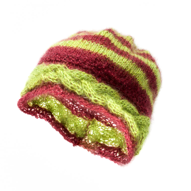 Stripy Ladies Mohair Hat