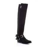 Manhattan 1.1 Black Calf Suede OTK Boot with Removable Harness