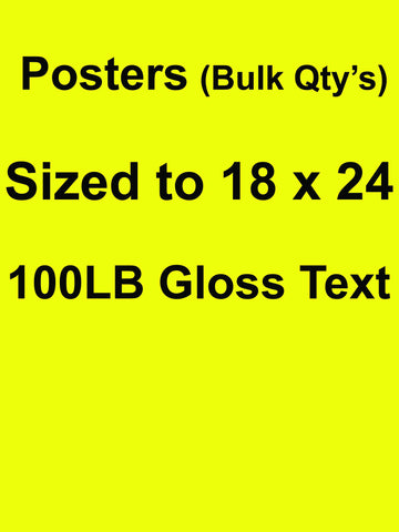 Posters (Bulk) QTY 250 18 X 24 Full Color Front Side