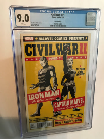 CIVIL WAR II ROUND 01 IRONMAN VS. CAPTAIN MARVEL VARIANT 9.0
