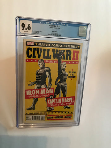 CIVIL WAR II ROUND 01 IRONMAN VS. CAPTAIN MARVEL VARIANT 9.6