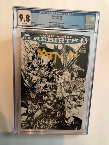 DC UNIVERSE REBIRTH BATMAN #1 8/16 AMAZING COMIC CON SKETCH