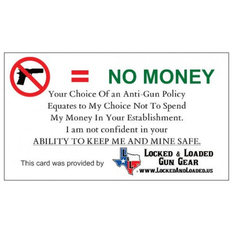no gun no money cards