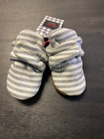 Grey White Striped Slippers