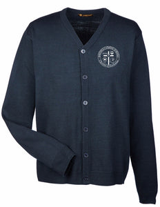 Harriton Men's Pilbloc™ V-Neck Button Cardigan Sweater M425