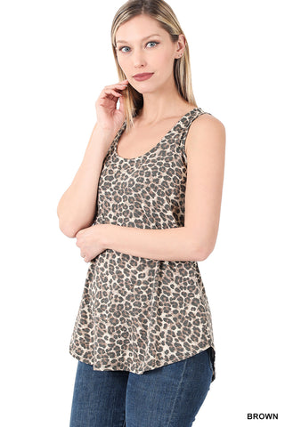 Leopard Sleeveless Round Neck