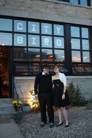Andy and Emily on City Bird's opening night, in 2009.