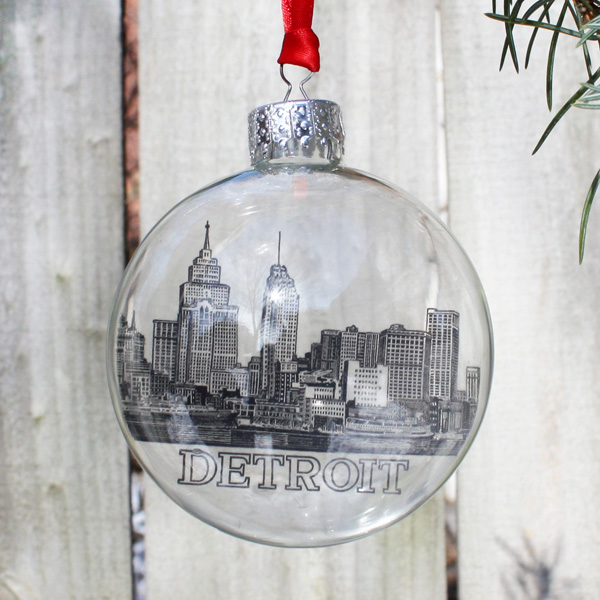 Historic Detroit Skyline Christmas Ornament - City Bird