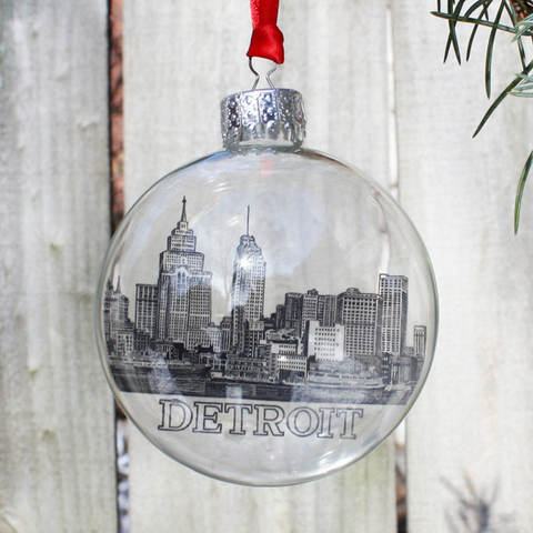 Detroit Historic Skyline Holiday Ornament - City Bird