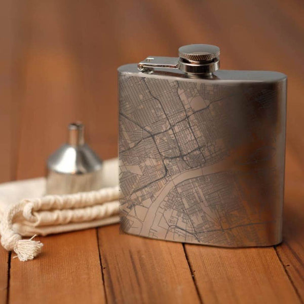 Detroit City Map Hip Flask
