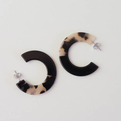 Two Tone Black Hoops
