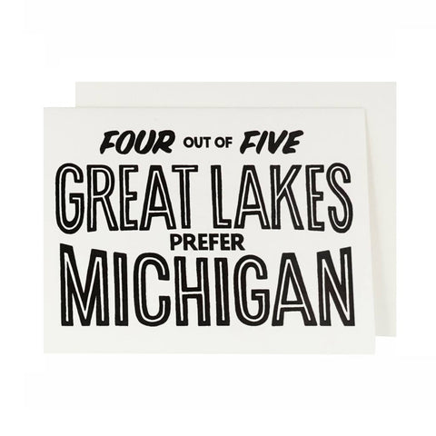 Four out of Five Great Lakes Prefer Michigan Letterpress Card - City Bird