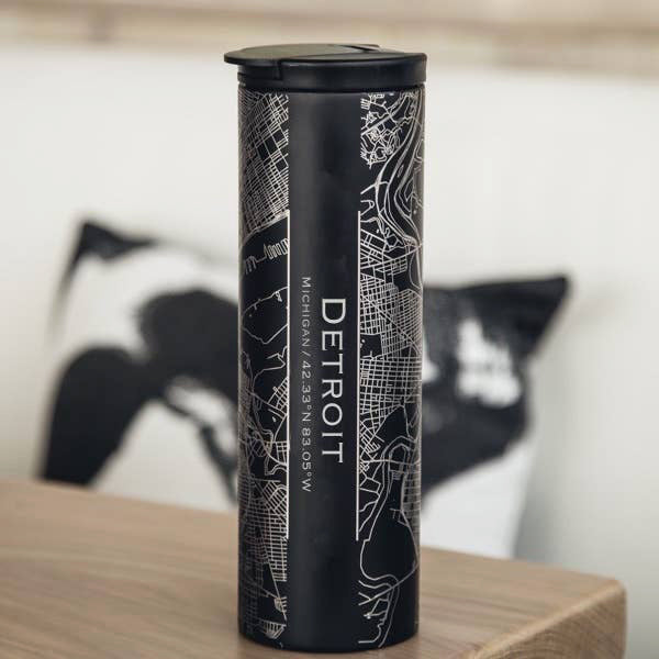 Detroit City Map Tumbler - Matte Black