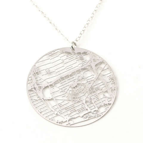 Detroit Map Necklace