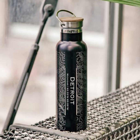 Detroit City Map Bottle with Bamboo Top - Matte Black