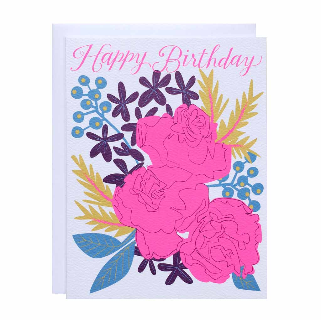 Happy Birthday Neon Roses Card