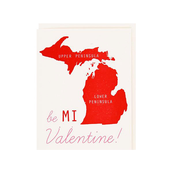 Be MI Valentine Letterpress Card - City Bird