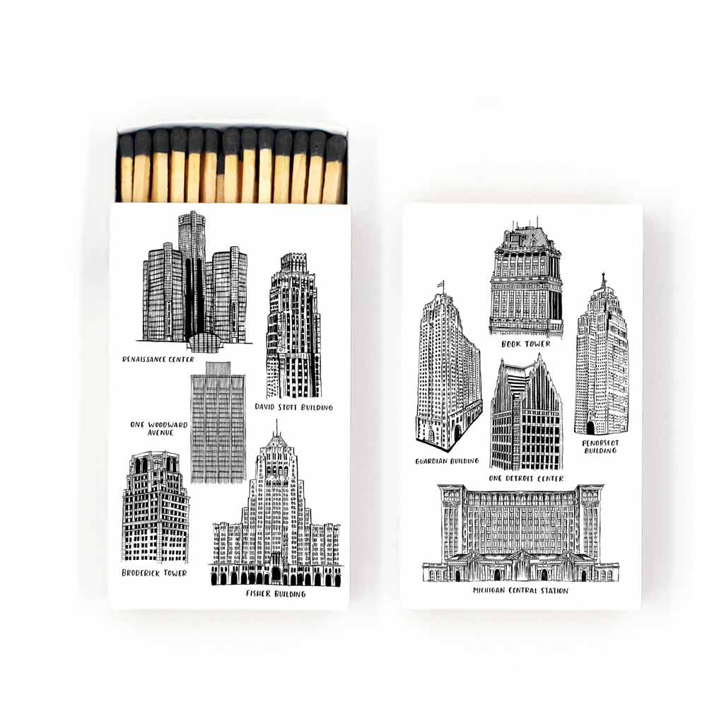 Buildings of Detroit Matches - City Bird