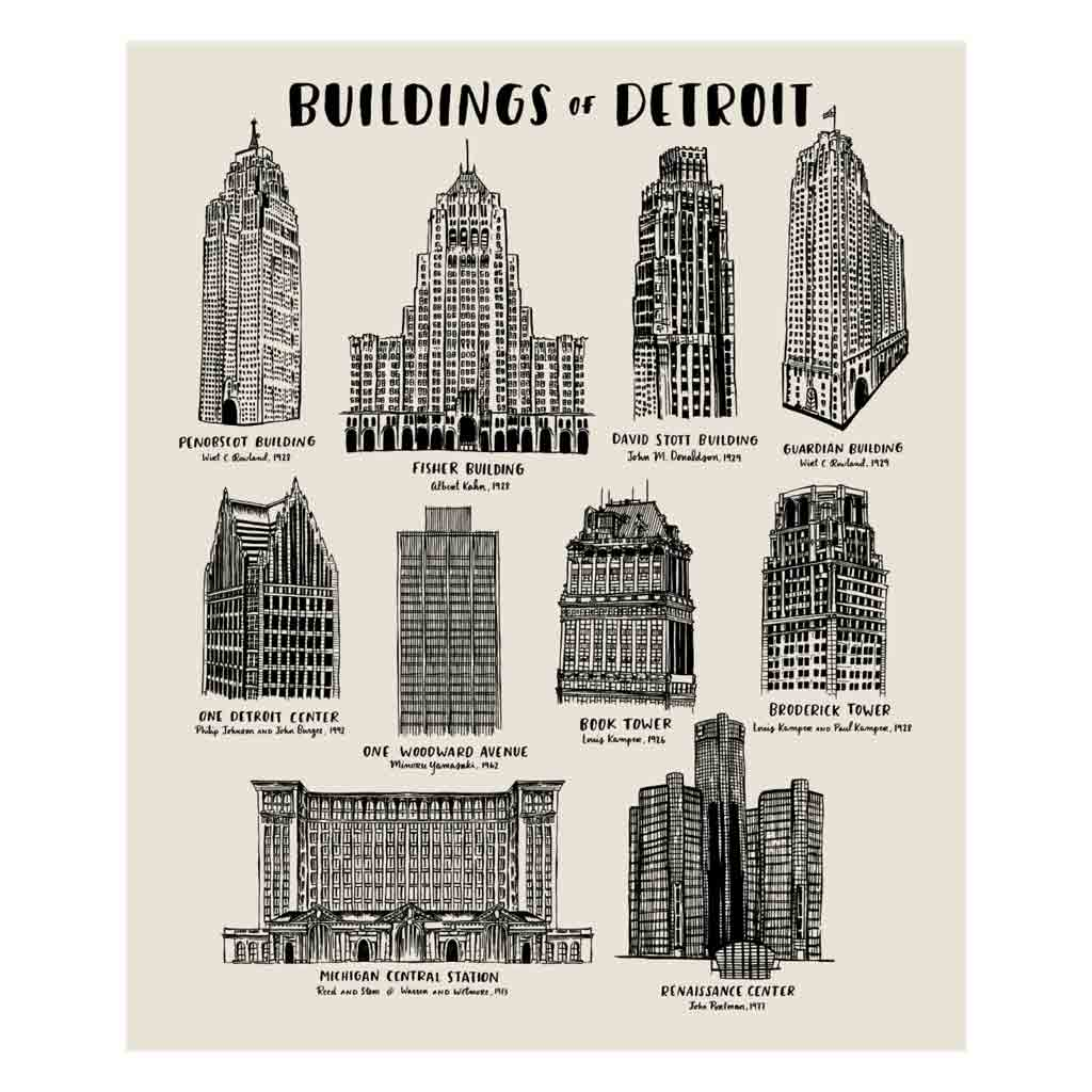 Buildings of Detroit Silkscreened Print - 18x24 - City Bird