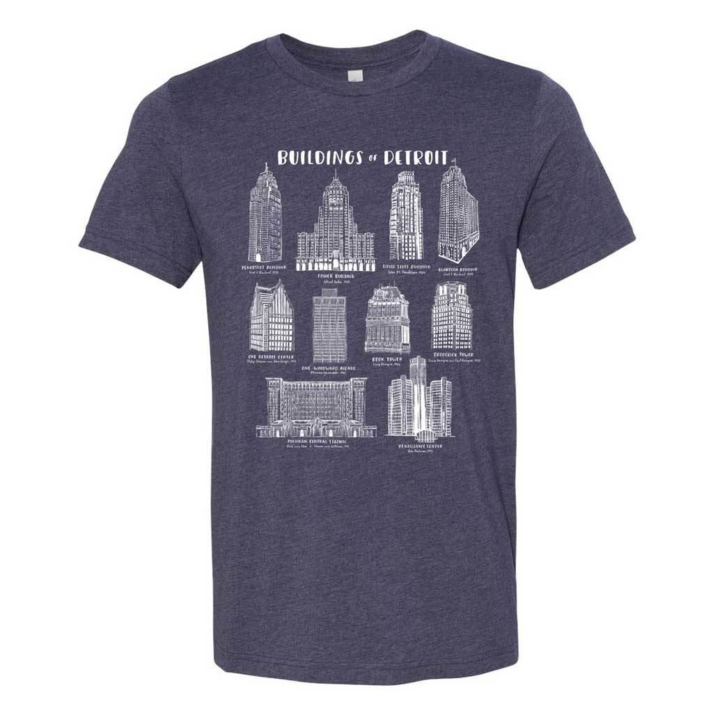 Buildings of Detroit Adult T-Shirt - City Bird