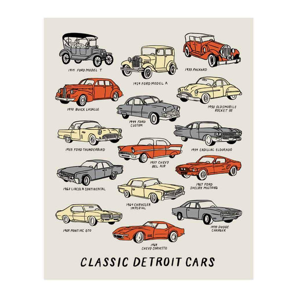 Classic Detroit Cars Silkscreened Art Print - City Bird