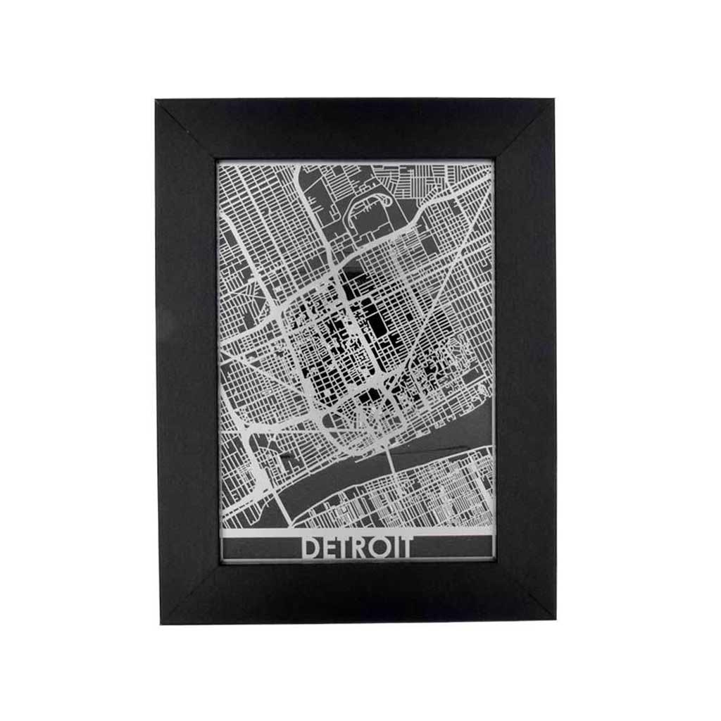 Framed Detroit Street Map - City Bird