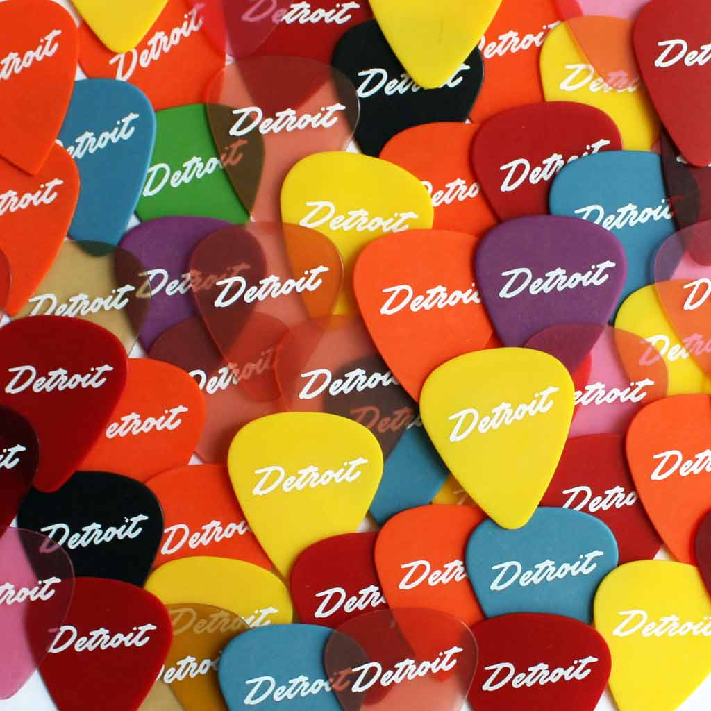 Set of Five Detroit Script Guitar Picks - City Bird